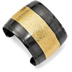 1928 Jewelry - Gold-tone and Black-plated Floral Cuff Bangle ($45) ❤ liked on Polyvore featuring jewelry, bracelets, cuff bangle, floral jewelry, gold tone jewelry, 1928 jewelry and goldtone jewelry