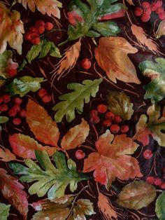 Delightful 52x90 FALL LEAVES BERRIES Oblong TABLECLOTH Vinyl/flannelBack Multi Color  Elrene