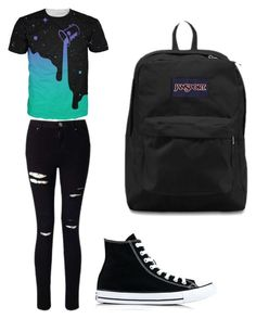 """Untitled #27"" by spikeytwister on Polyvore featuring Miss Selfridge, Converse and JanSport"