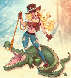 Crocodile Huntress by JakkeV