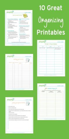 10 great #organizing printables:  One Year of Organizing Checklists Birthday Party Trouble Spots Wardrobe Shopping List Party Supply Inventory Finish It Friday Freezer Inventory Meal Planner Tried + True Meals Back-to-School Checklist