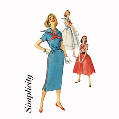 1950s Sailor Collar Dress Pattern Simplicity 2331 by CynicalGirl