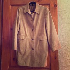 Ellen Tracy Suit Jacket This lightly worn jacket is a versatile addition to any closet. Petite 12, tan with darker brown stripes and hints of light blue threading. Four button closure, functioning pockets and partially lined. Ellen Tracy Jackets & Coats Blazers