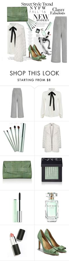 """""""stay classy on street"""" by nataskaz ❤ liked on Polyvore featuring Monique Lhuillier, Topshop, Narciso Rodriguez, NARS Cosmetics, Clinique, Elie Saab, Sigma Beauty, Salvatore Ferragamo and NYFW"""