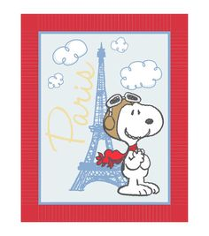 Giftable No Sew Throw-Peanuts Red Baron In Paris