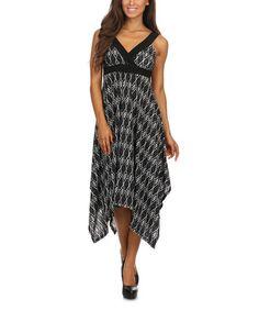 $19.99  Loving this Black & White Geo Empire-Waist Dress on #zulily! #zulilyfinds