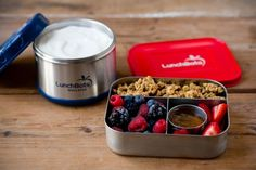 A yogurt parfait for lunch on the go! Vanilla yogurt in the LunchBots Thermal. Toppings like granola, berries, and honey in the LunchBots Trio.