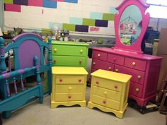 Girls bedroom furniture. Custom work by Vava's Vintage