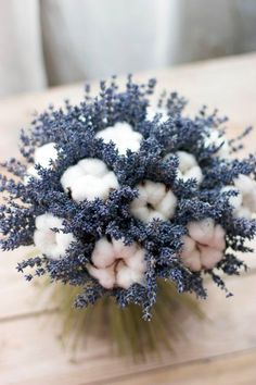 a catchy wedding centerpiece or bouquet of lavender and cotton is a cute and unusual arrangement Arrangements Ikebana, Dried Flower Arrangements, Beautiful Flower Arrangements, Beautiful Flowers, Dried Flower Bouquet, Dried Flowers, Flower Decorations, Wedding Decorations, Centerpiece Wedding