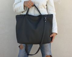 Leather bag, large leather bag, big leather bag, leather bag woman, leather bag women, modern laptop, Crossbody bag,Grey leather tote