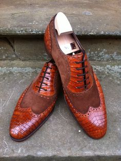 Handmade crocodile lace Up shoes, Wing tip leather and suede.- Handmade crocodile lace Up shoes, Wing tip leather and suede dress shoes for men - Jm Weston, Gentleman Shoes, Custom Design Shoes, Suede Leather Shoes, Formal Shoes, Formal Dress, Dream Shoes, Lace Up Shoes, Loafers Men