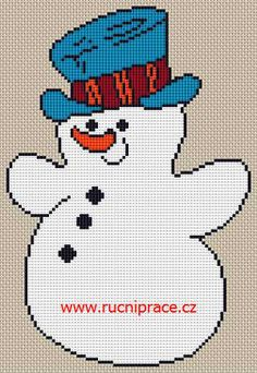 Snowman, free cross stitch patterns and charts - www.free-cross-stitch.rucniprace.cz