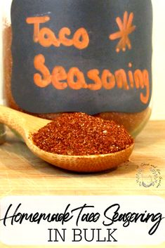 If you're looking for less preservatives in you pantry you need to try this taco seasoning recipe! I love that it's made in bulk! Now we always have a jar in the cupboard. It's great for more than tacos. We like to use it for fajitas and seasoning our mexican inspired snacks and appetizers too! #tacoseasoning #bulkpantry #homemadeseasonings #seasoningsinbulk #achickandhergarden Seasoning Recipe, Seasoning Mixes, Kitchen Recipes, Canning Recipes, Homemade Tacos, Homemade Taco Seasoning, Recipe From Scratch, Wild Edibles, Fermented Foods
