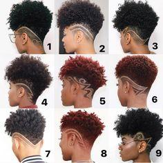Natural Hair Short Cuts, Short Natural Haircuts, Short Hair Cuts, Natural Hair Styles, Undercut Natural Hair, Natural Mohawk Hairstyles, Tapered Haircut Natural Hair, Short Hair Designs, Shaved Hair Designs