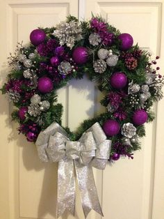 Royal Purple and Silver Christmas Wreath by CraftiesByJess on Etsy