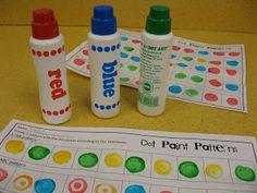 Peterson's Pad: Patterns with Do-a-Dot Markers Patterning Kindergarten, Kindergarten Math Activities, Preschool Math, Math Classroom, Fun Math, Teaching Math, Toddler Activities, Classroom Ideas, Maths Eyfs