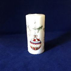 Christmas Bauble Candle, White Wax, Candle, Festive Candle, Christmas Table Decor, White Pillar Candle, Vintage Candle, Xmas Table Centre