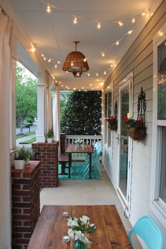 One Room Challenge The Porch Project Reveal Simple Stylings Southern Style Porch with a haint blue ceiling and string lights porch makeover Small Porch Decorating, Decorating Ideas, Decor Ideas, Farmhouse Front Porches, Southern Porches, Country Porches, Small Porches, Blue Ceilings, Building A Porch