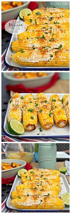 (Skinny) Mexican Grilled Corn is the perfect EASY Side Dish for Summer! YUM!! #skinny #summer #BBQ
