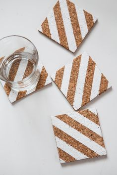 DIY Coasters DIY Striped Corkboard Coasters DIY Coasters