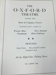 The old school movie theater was perfect for dates or just a quiet night with friends. They offered the newest movies from the biggest production companies. #MUArchives #1932Recensio