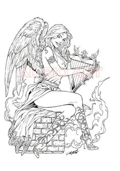 Angel with harp by Al Rio OA by AlRioArt.deviantart.com on @deviantART Angel Fantasy Myth Mythical Legend Wings Warrior Valkyrie Anjos Goth Gothic Coloring pages colouring adult detailed advanced printable Kleuren voor volwassenen coloriage pour adulte anti-stress kleurplaat voor volwassenen