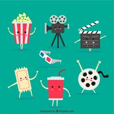 Set of cute cartoon movie objects Free Vector Cartoon Movies, Cute Cartoon, Hollywood Theme Classroom, Cinema Party, Movie Night Party, Cartoon Background, Free Cartoons, Kawaii Chibi, Cinema Posters