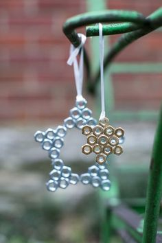 Make your own hex nut snowflakes, wall plate photo ornaments, and electrical wire trees and words with this three-part hardware store holiday ornaments tutorial!