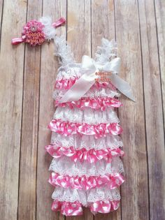 SPECIALPetti Lace Romper Pink with White by GigglesandWigglesBtq