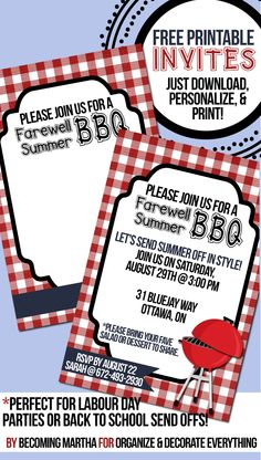 Farewell Summer! Free Printable Invites for BBQ or back-to-school bash