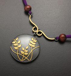 Bush clover pendant of fine gold Keum Boo on sterling by KAZNESQ, $400.00