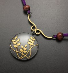Bush clover pendant of fine gold Keum Boo on sterling by KAZNESQ, $400.00