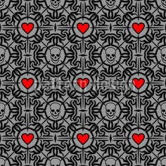 Liebestod by Sergio Delunardo available for download as a vector file on patterndesigns.com Vector Pattern, Pattern Design, Vector File, Surface Design, Altered Art, Gothic, Patterns, Color, Block Prints