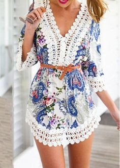 Lace Crochet Splicing Paisley Print Chiffon Dress on sale only US$21.28 now, buy cheap Lace Crochet Splicing Paisley Print Chiffon Dress at modlily.com