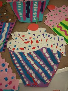 Wayne Thiebaud Cupcakes- torn paper and paint. Grade 2
