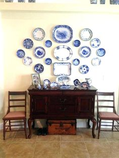 how to display plates on wall flow blue wall at my home how to display plates on china used for the and how to display wall display shelves for plates wall display hanger for plates Room Wall Decor, Hanging Plates, Decor, Blue White Decor, Plates On Wall, Flow Blue China, Blue Decor, Plate Wall Display, Blue Plates Wall