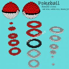 La Pokeball dei Pokemon schema gratis 3D perline da stirare Pyssla