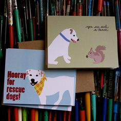 Tease & Rescue Dog Cards 6pack by lafamiliagreen on Etsy, $13.00