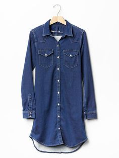 1969 denim knit western shirtdress Product Image