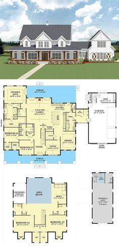 Most Popular Farmhouse Plans - Blueprints, layouts and details of the best farmhouses on the market. Building your dream home in the country? Home 7 Most Popular Farmhouse Plans With Pictures New House Plans, Dream House Plans, Dream Houses, Family Home Plans, Country Home Plans, House Design Plans, Country Homes, House Plans 2 Story, House In The Country