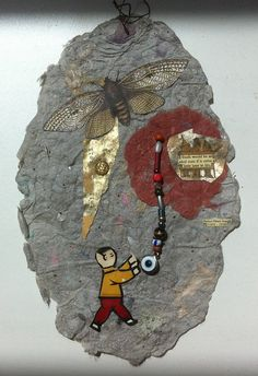 YOUTH a collage of handmade paper and beads and an eye by PAPERXXX, $25.00