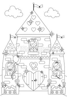 Fairytale Sparkly Castle and Princess Characters to Color In. royalty-free fairytale sparkly castle and princess characters to color in stock vector art & more images of castle