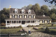 Country Style House Plans - 2727 Square Foot Home, 2 Story, 4 Bedroom and 2 3 Bath, 2 Garage Stalls by Monster House Plans - Plan Porch House Plans, Colonial House Plans, Country Style House Plans, House With Porch, Country Style Homes, Farmhouse Style, The Plan, How To Plan, Plan Plan