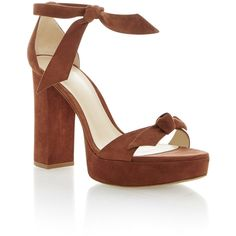 Alexandre Birman Mabelha Platform Sandal (896 485 LBP) ❤ liked on Polyvore featuring shoes, sandals, tan, tie shoes, tan suede sandals, tan platform sandals, suede sandals and platform shoes