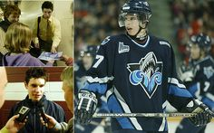 Sidney Crosby's years in junior hockey with the Rimouski Oceanic Bas Saint Laurent, Pittsburgh Penguins Hockey, Sidney Crosby, Nhl, Motorcycle Jacket, Photo Galleries, Baseball Cards, Sexy, Sports