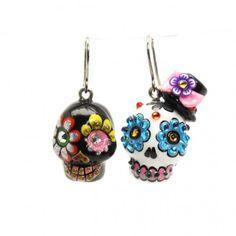 Dia De Los Muerto Sugar Skull Ceramic Earing Hand Painting Art 00078