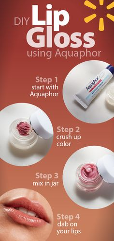 Make your own moisturizing lip gloss using makeup that's already in your drawer. With this easy DIY trick using Aquaphor® Healing Advanced Therapy Ointment from Walmart, you can save money and always have the perfect color on hand. Use up the last little bit of your blushes and bronzers to create shades to match every look. Fill an empty lip gloss jar or balm tin with Aquaphor®. Crush up some blush or bronzer into a powder & mix the pigment in. Dab on your lips for a glossy pop of color.