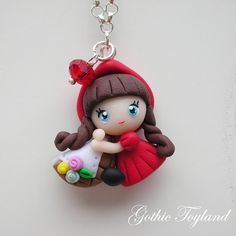 Kawaii Cuties Sweet Little Red Riding Hood Pendant with Polymer Clay