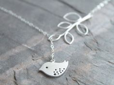 Speckled bird lariat - sterling silver