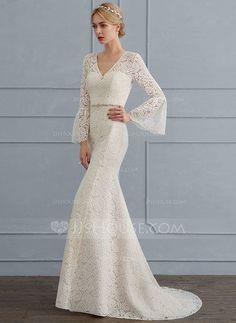 [R$ 752.87] Trompete/Sereia Decote V Sweep/Brush trem Renda Vestido de noiva com Beading (002124267)